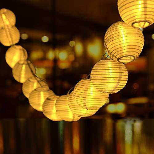 Solar Lichterkette Aussen Lampions, Qxmcov 9.3Meter 50 LED Laternen 8 Modi Wasserdicht Solar Lichterkette...