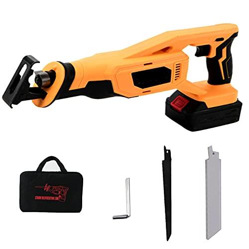Akku-Säbelsäge/Reciprosäge mit 2pcs Batterien, 28mm Hublänge,mit variabler Drehzahl von 0 bis 2800 RPM, 2 Sägeblätter, Schnellladegerät, Ideal zum Schneiden von Holz und Metall