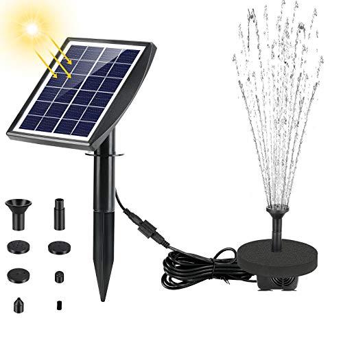 Fostoy Solarpumpe Teichpumpe, Solar Springbrunnenpumpe 2W Panel Mit Erdungsstecker, Solar Wasserpumpe für...
