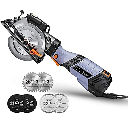 Mini Kreissäge, 750W 3500U Handkreissäge mit 6 Sägeblätter und Laser, Schnitttiefe 90°: 43mm / 45°: 29mm, für Holz, Weichmetall, Fliesen und Kunststoffschnitt