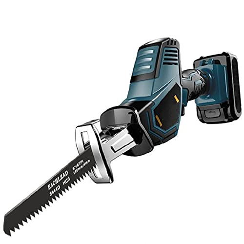 Akku-Säbelsäge, 21V Säbelsäge Akku, Akku säge mit 2pcs 2.0 Ah Batterien, 0-3000SPM, Hublänge 15 mm, 8 Sägeblätter, zum Schneiden von Holz und Metall