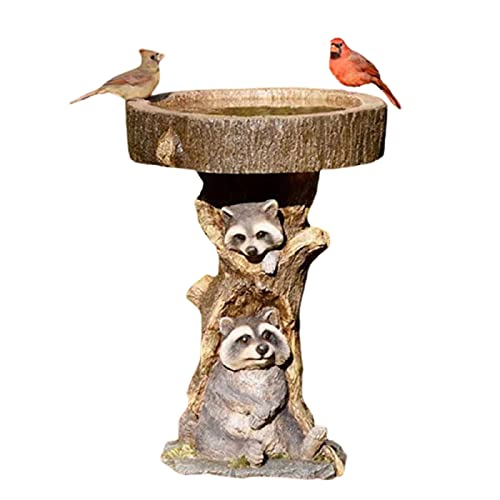 ZCRFYY Vogeltränke Vogelbad Garten dekorativ Polyresin Vogelfutterspender Vogelbad Vogeltränke Garten Balkon Deko Futterstation zur ganzjährigen Wildvögel Fütterung,Messing
