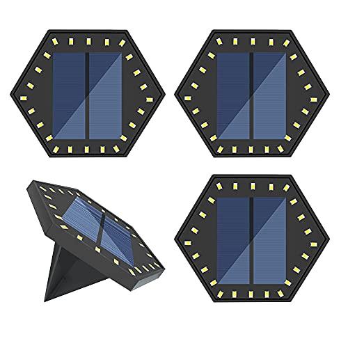 HVZUM Solar Bodenleuchten - 24LEDs Solarleuchten Bodenleuchte für Außen, 2 Modi IP68 Wasserdicht Warmweiß Solarleuchte Garten LED Wegleuchte Solarlampe Deko für Garten Rasen Auffahrt Gehweg (4 Stück)