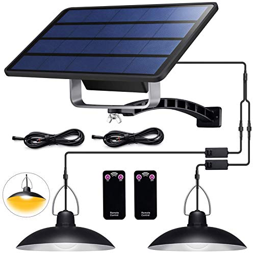 ENCOFT Solarleuchte für Außen LED Solarlampe mit Fernbedienung IP65 Wasserdichte Solar Hängelampen 4W Solar Pendelleuchte für Garten Bauernhaus Camping mit 3M Kabel (2 Licht,Warmweiß)