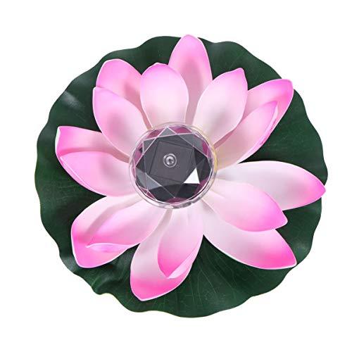 SOLUSTRE LED Solarbetriebene Wasserlaterne Schwimmlaterne Lotus Laterne Künstliche Seerose Lotusblüte Lotusblatt Deko für Pool Teich Garten Hochzeit Party Dekoration Gradient