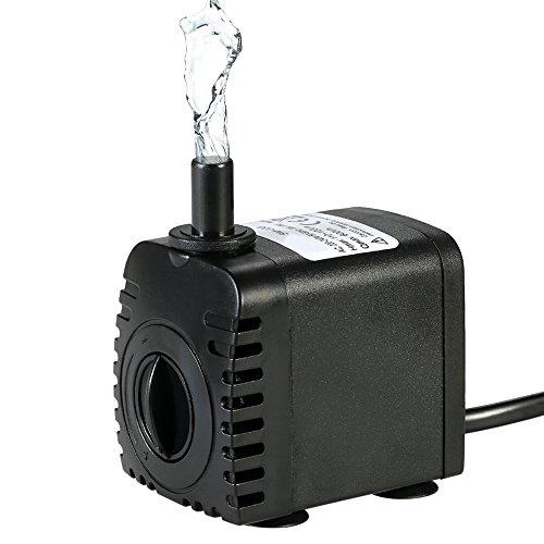 Decdeal Mini Wasserpumpe 600L/H 8W Tauchpumpe Aquariumpumpe Unterwasser Wasserspielpumpe mit 2 Düsen für...