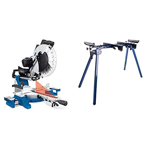 Scheppach HM140L Kapp-Zugsäge, Gehrungssäge 2000 W, 305 mm Sägeblatt, 330 mm Schnittbreite & 5907107900 Arbeitsfläche/Arbeitstisch UMF1550, arbeiten in ergonomischer Höhe, bis 150 kg, silber/blue