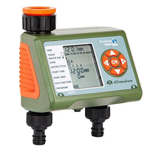 Ultranatura Doppel-Bewässerungscomputer mit LC-Display, ideal zur Blumenbewässerung, Rasenbewässerung etc,...
