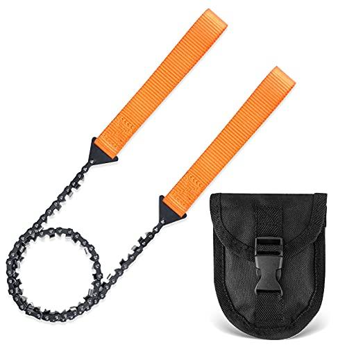 Eletorot Outdoor Handkettensäge,Klappsäge mit 33 Zähnen mit Gürteltasche,Tragbare Baumsäge Handsäge...