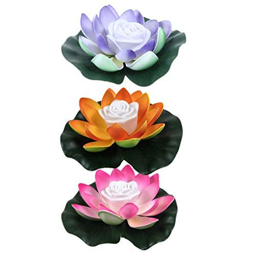 SOLUSTRE LED Wasserlaterne Schwimmlaterne Lotus Laterne Künstliche Seerose Schwimmende Blumen Lotusblume Lotusblüte Teichlicht für Pool Teich Garten Hochzeit Party Dekoration 3St.