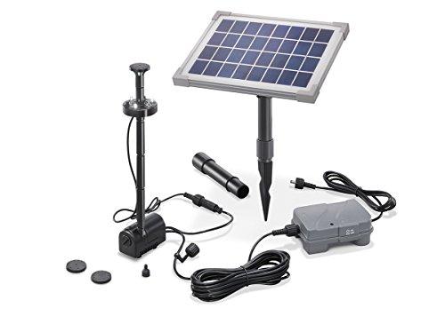 Solar Teichpumpe 5 Watt Solarmodul 160 l/h Förderleistung mit Akku und LED Beleuchtung 50 cm Förderhöhe...