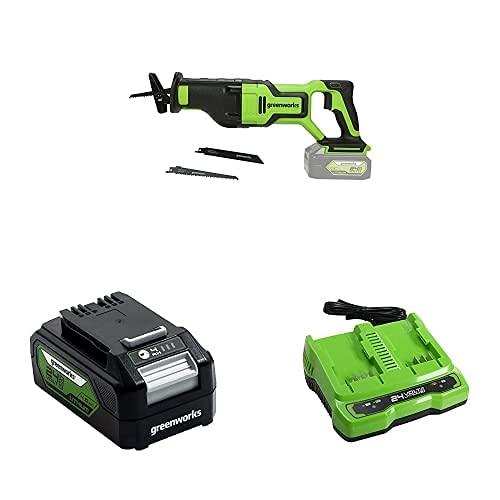 Greenworks 24V Akku-Säbelsäge GD24RS + Akku G24B4 (Packung mit 2) + Tools Doppelsteckplatz-Akku-Universalladegerät G24X2UC2