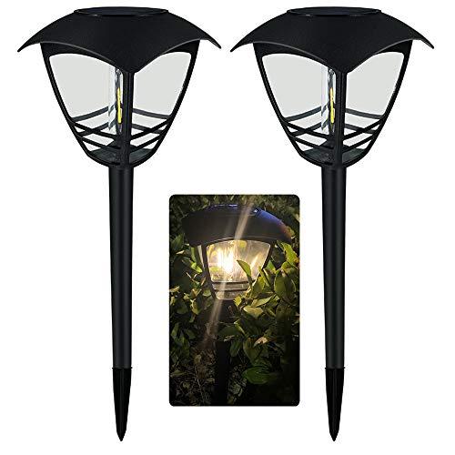 Chao Zan Solarleuchten Garten,LED Warmweiß Solar lampen Induktionslampe Außen,IP65 Wasserdicht Solar Wegeleuchte Gartenleuchte Dekorative Licht für Rasen Gehweg Balkon Landschaft(2 Stücke)