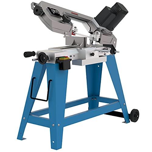 GÜDE Metallbandsäge MBSD 116 (1100 Watt Leistung, 100 mm Schnittleistung, Inkl. Untergestell und LED Digitalanzeige) 40557 blau grau