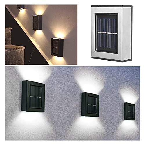 QINGCHU Solarleuchte für Außen, Solarleuchte Aussen, 2pcs LED-Solarlicht-Außenwand-montierte wasserdichte Gartendekor-Lampen, Solar Wasserdichte Wandleuchte Led für Garten-Hof-Dekor