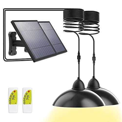 Solarlampen für Außen-[2 Stück] Dopwii Solar Hängelampe-IP65 wasserdicht-Fernbedienung-5 m Kabel - 180 ° Einstellbares Solarpanel für Garten, Haus, Terrassen(2 Modi und 3 helle Farben)