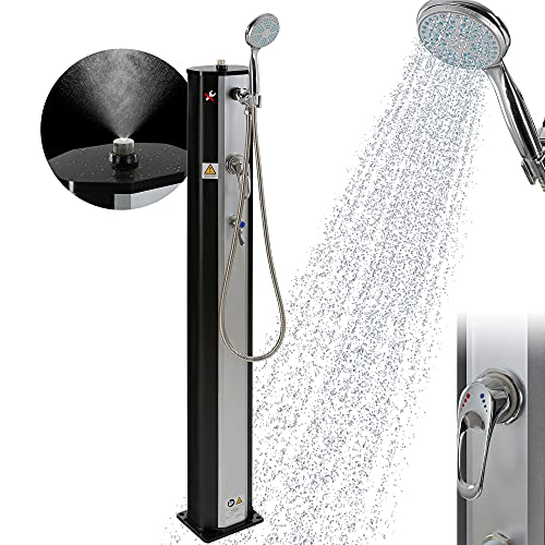 Arebos Solardusche | 20 Liter | 123 cm | mit integrierter Sprühnebelfunktion | Silber-Schwarz | inkl....