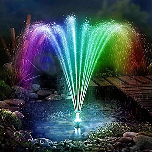 zhouxi Solar Springbrunnen Mit LED Lichter,Teichpumpe Mit Solar Panel Eingebaute Batterie Wasserpumpe Mit 6 Fontänenstile Für Garten,für Garten Solarpumpe Gartenteich