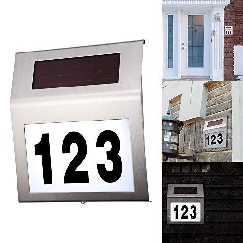 1PCS Hausnummernleuchte Solar, FORNORM Solar Beleuchtete Hausnummer mit 2 LED Beleuchtung, Lichtsensor, IP44 Wasserdicht, Einschließlich Nummern 0-9 & Buchstaben A-H, Cool Weiß 6000K