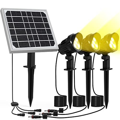Solar Gartenstrahler MEIKEE Garten Solarstrahler IP66 Wasserdicht Gartenleuchte LED Solarlampe Außen Solarleuchte 3 Stücke mit Erdspieß Wegeleuchte für Bäume Sträucher Gartenweg Rasen Hof Warmweiß