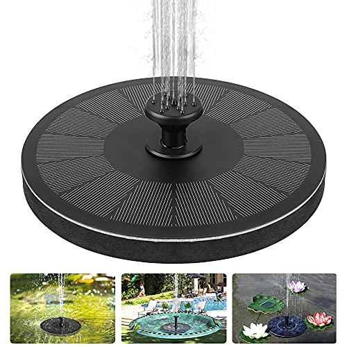 Solar Springbrunnen, laxikoo Upgrade 2.2W Solar Teichpumpe 7 Fontänenstile Outdoor Wasserpumpe Solar Pumpe mit Monokristalline Solar schwimmender Fontäne Pumpe für Vogelbad, Fisch-Behälter, Teich