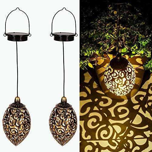 Gadgy Solarlampen für Außen Hängend   Set 2 Stück Solar Hängeleuchte   Solar Hängelampen für Außen   Marokkanische Deko   Solarlaterne für Außen Hängend  Solar Laterne   Orientalische Lampe Hängend