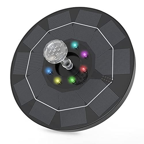 AISITIN Solar Springbrunnen 3.0W mit Farbenfroh LED Light Solarbrunnen Eingebaut 1500mAh Batterie Teichpumpe Solar Wasserpumpe mit 6 Fontänen Stile Geeignet für Garten Vogel-Bad Fisch-Behälter