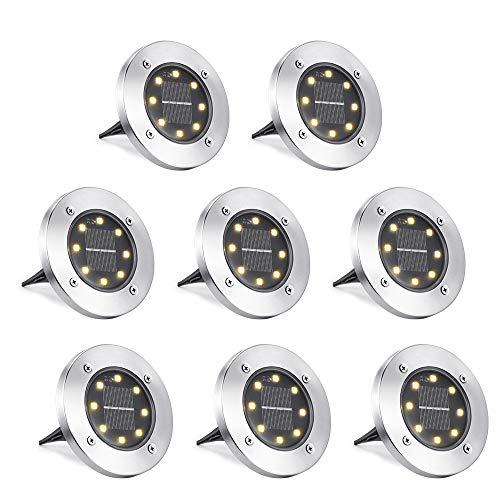 Qedertek Solar Bodenleuchte für Garten, 8 Stück 8 LED Solarleuchten Außenleuchte, Warmweiß Solarlicht...