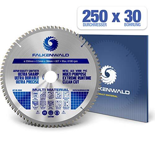 FALKENWALD ® Sägeblatt 250x30 mm - Ideal für Holz, Metall & Alu - Kreissägeblatt 250x30 kompatibel mit Gehrungssäge & Tischkreissäge von Bosch & Metabo - Multi Kreissägeblätter 250x30