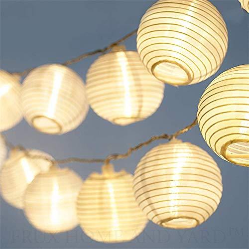 CozyHome LED Lampion Solar Lichterkette Aussen | 7 Meter Gesamtlänge | 20 LEDs warm-weiß – Lichterkette Solar | NICHT batterie-betrieben - Akku Lampions Solar Außen | Solarlichterkette Balkon