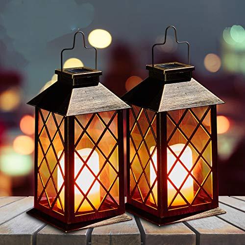 Solar Laterne mit LED Kerze und Täuschend echt Wirkenden Flacker-Effekt, OxyLED IP44 Festive Light für Deko Garten St Martin(2 Stück)