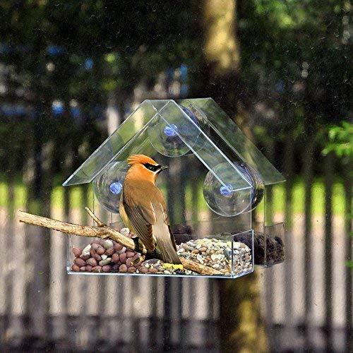 Vogelfutterspender für Fenster, großes Haus für draußen, Vogelhaus-Form, abnehmbare Schiebetablett mit Abflusslöchern, extra stark