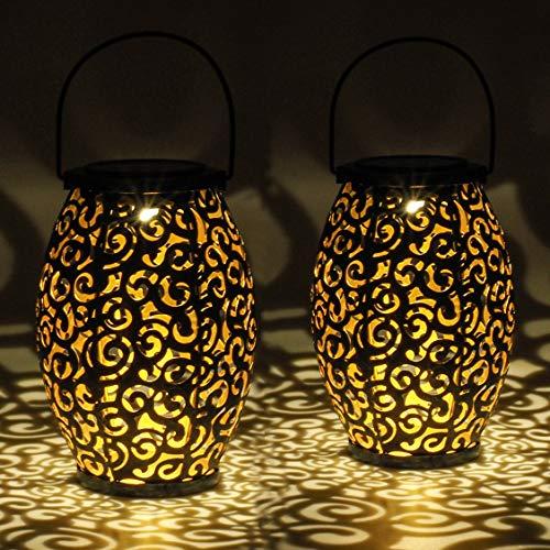 Gadgy Solar laterne fur Außen | Set 2 Stuck Orientalische gartenlaternen aus metall IP44 Wasserdicht | 21,5 x 15 cm. | stehlampe oder Hängelampe