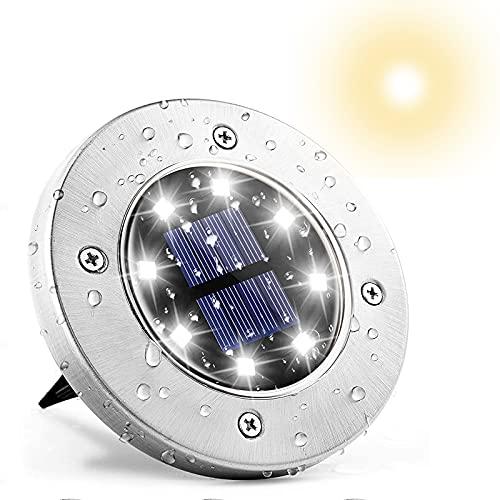 Solar Gartenleuchte 1 Stück,IP65 Wasserdicht Solar Bodenleuchten Aussen 8 LED Solarlampen für Außen,Innenhöfe,Rasen,Auffahrt,Gehweg,Hof(Kaltweiß )