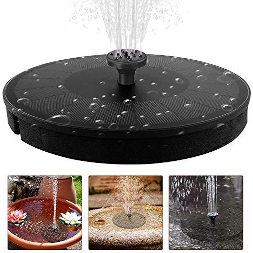 Hainice Solar Springbrunnen, 9 V / 3,5 W LED-Teich-Brunnen, solarbetriebene Teichpumpe mit Düsen für Vogel-Bad, Teich, Pool, Aquarium, Aquarium und Garten