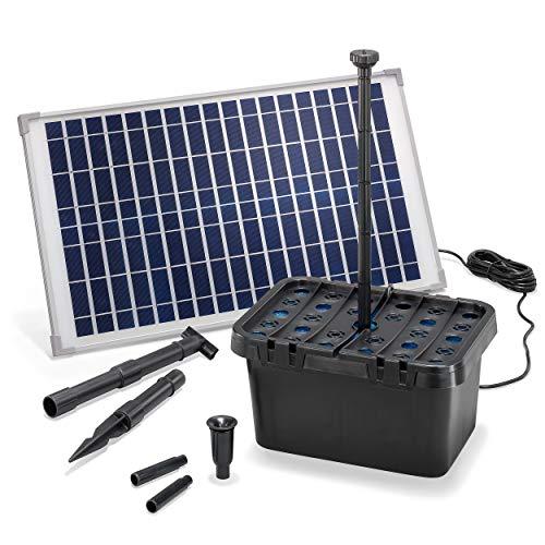 Solar Teichfilter Komplettset Professional - 875 l/h Förderleistung + 25 W Solarmodul - Komplettset für Gartenteiche bis 3.000l - dekoratives Wasserspiel - Teichpumpe Solarpumpe esotec 100902