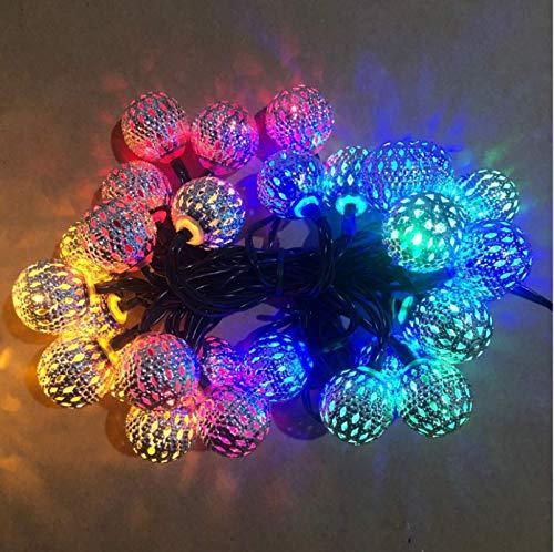 Farbe Solar marokkanisches Eisen hohl kleine runde Kugel im Freien wasserdichte LED-Lichterketten Weihnachtstag Gartendekoration Licht 40LED