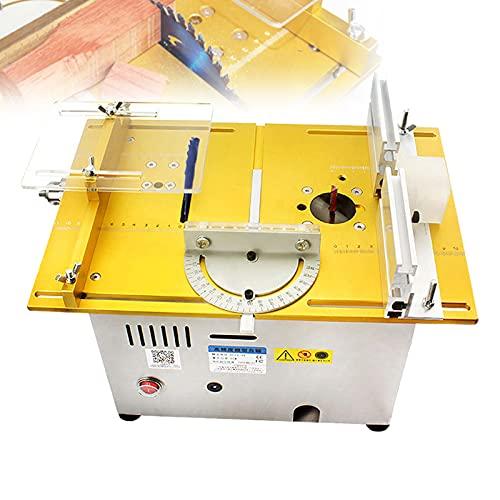 FRIBLSKEL Elektrische Minitischsäge, Tragbare Elektrische Säge Tischschneidemaschine 96W 9000R / Min 795 Leistungsstarker Motor Schnitttiefe 0-29Mm Mit Gravur Polier,Gold,B