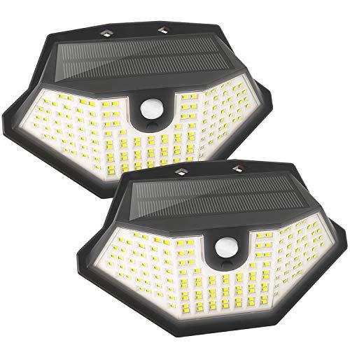 Solarleuchten Außenleuchten 134 LED Sicherheitsleuchten Bewegungsmelder mit 3 Leuchtmodi, Solar-Wandleuchten Solar-Wandleuchten für Garage (2 Pakete)