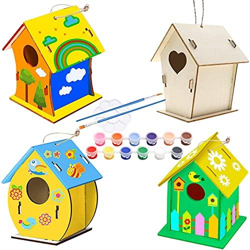 Holz Vogelhaus Bausatz, 4 Stück DIY Kinder Holz Vogelhaus, Kinder Vogelhaus Bemalen Kit, Kunst hängendes Vogelhaus-Set, Enthalten 12 Farben, Malpalette und 2 Pinsel