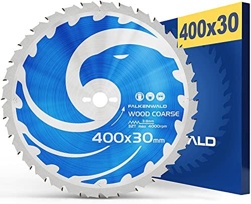 FALKENWALD® Kreissägeblatt 400x30 mm grob für Holz optimiertes Sägeblatt 400x30 mit 32 Hartmetallzähnen - Kompatibel mit vielen Tischkreissägen von Bosch, Makita, Einhell, ect.