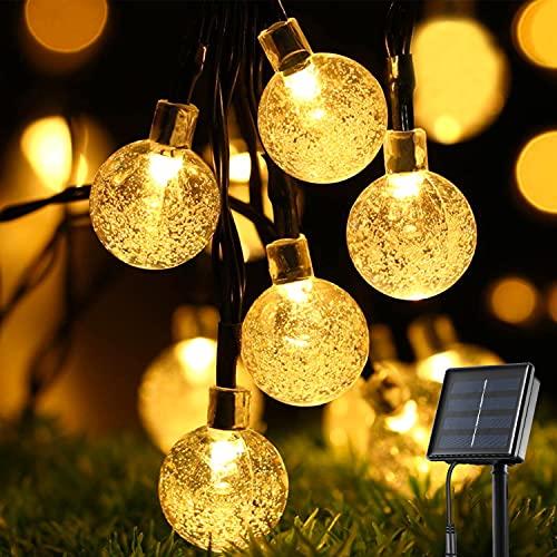 Solar Lichterkette Außen, OxyLED 30 LED Lichterkette Außen Solar Lichterkette Solar Außen Wasserdicht IP65 Solar Lichterkette Außen Kristall Kugeln Garten Lichterkette für Partys Warmweiß