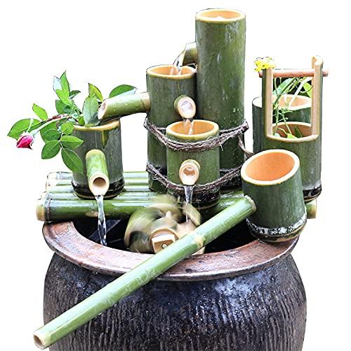 Solarbrunnen Wasserspiele für den Garten Solarbetriebenes Bambusrohr Fließendes Wasser Dekoration, Pumpwagen, Landschaft ohne Plug-in, Landschaftssteinhandwerk, 11 (90 cm)