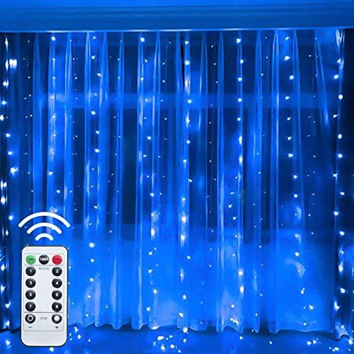 Vorhang Lampe Zimmer Dekorative,Anschließbar Icicle Leuchten für Schlafzimmer Weihachten Hochzeit Party,Dimmbar 8 Modi Lichterkette Usb Wasserfall Licht mit Fernbedienung und Haken-Blaues konvexes lic