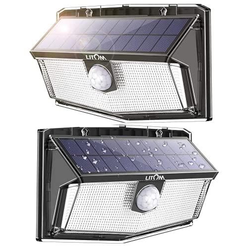 300 Led Solarlampen für Aussen mit Bewegungsmelder Solar Wandleuchte Aussen Led Solar Strahler Lampe Solarlampe Aussenleuchte Led Aussenleuchte mit Bewegungsmelder, 3 Modi [2200mah] IP67 Wasserdicht