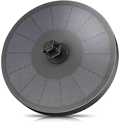 Solar Springbrunnen mit 3W Solar Panel, Solar Teichpumpe Eingebaute 900mAh Batterie Solar Wasserpumpe Solar Schwimmender Fontäne Pumpe mit 8 Fontänenstile für Garten, Vogel-Bad, Fisch-Behälter
