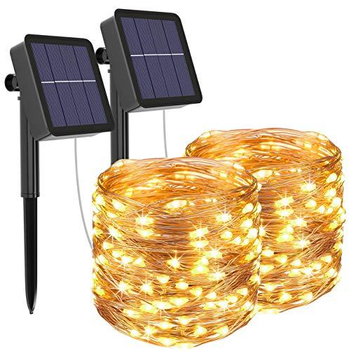 [2 Stück] Solar Lichterkette Aussen, Litogo 12M 120 LED Lichterkette Außen Wasserdicht KupferDraht 8 Modus...