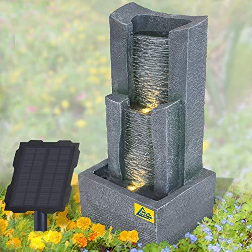 Solar Gartenbrunnen Brunnen Solarbrunnen Zierbrunnen Wasserfall lichtgrau Gartenleuchte Teichpumpe für Terrasse, Balkon, mit Pumpen-instant-Start-Funktion mit Liion-Akku & Led-Licht