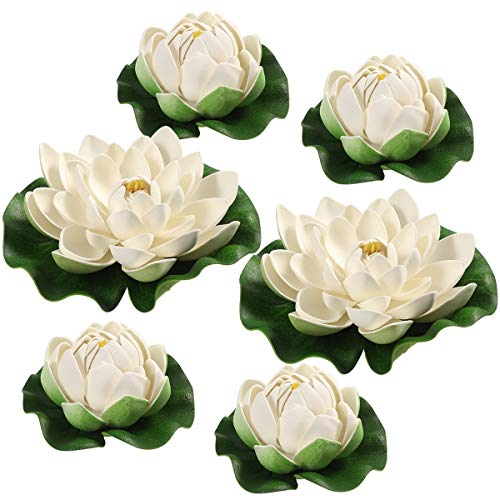 WINOMO 6pcs Künstliche Pflanzen Teichpflanzen Lotus künstliche lotusblüte lotusblatt Lilien