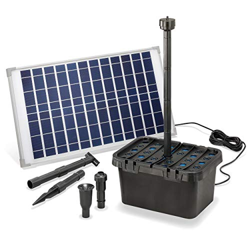 Solar Teichfilter Komplettset Professional - 1250 l/h Förderleistung + 25 W Solarmodul - Komplettset für...